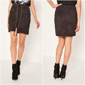 Missguided   Faux Suede Lace Up Mini Skirt